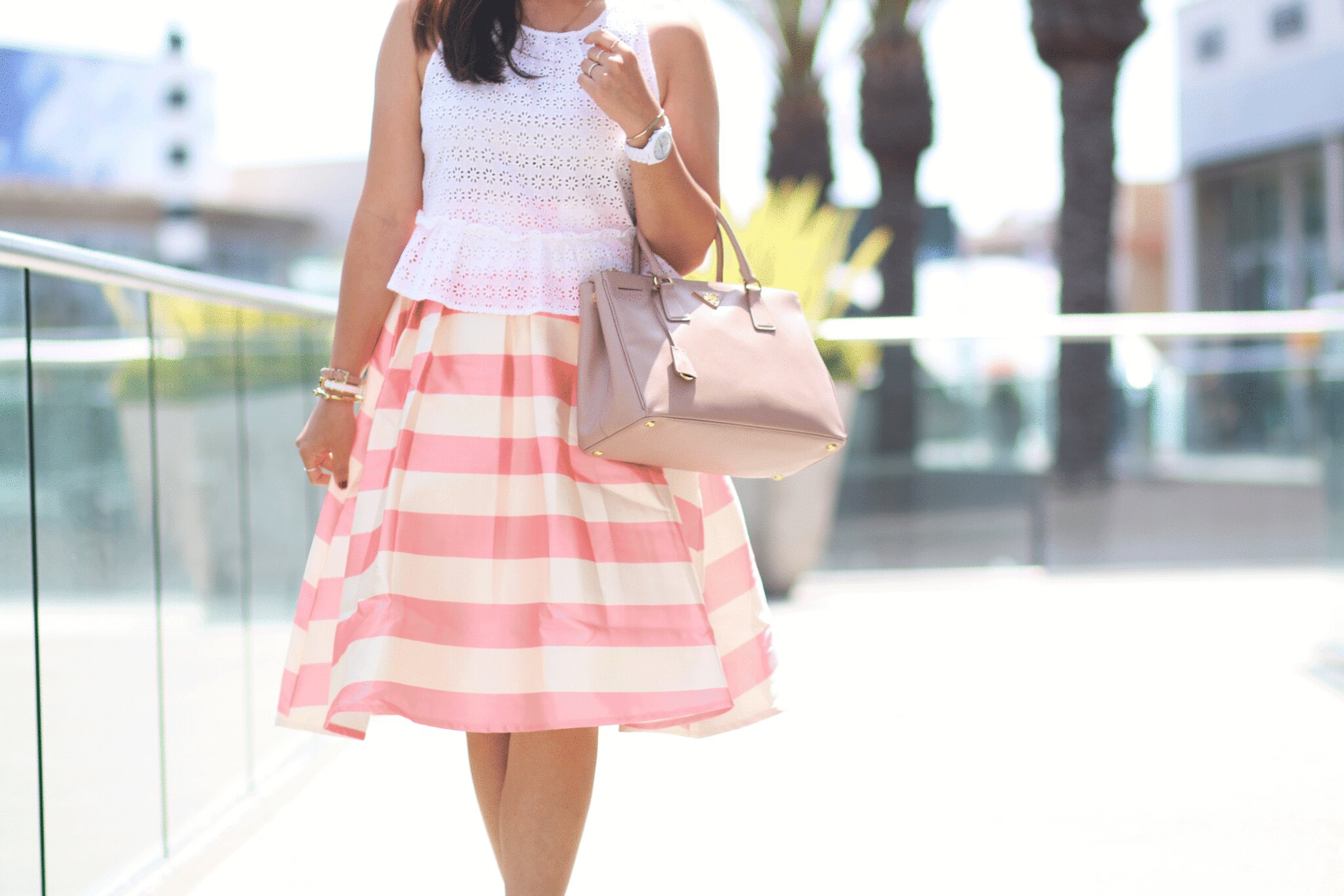 simplyxclassic, miriam gin, chicwish, stripe skirt, pink and white stripe skirt, white peplum tank, prada bag, summer outfit, fashion blogger, orange county