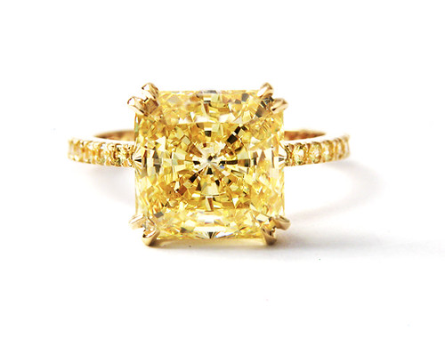 Canary Yellow Princess Cut Diamond Engagement Rings