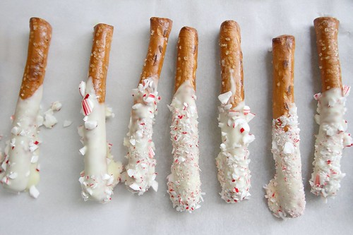 white chocolate peppermint dipped pretzels | by shutterbean