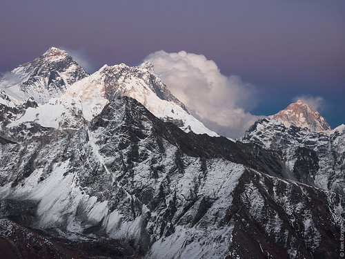 Sunset view at Mount Everest, Nuptse and Makalu from Gokyo Ri (5360m) | by borisov