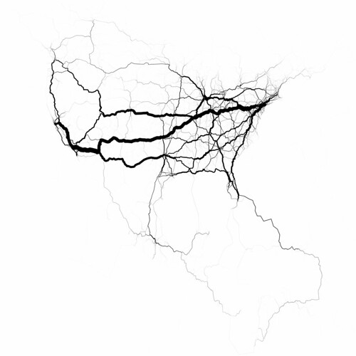 Probably a more realistic model of North American travel patterns | by Eric Fischer