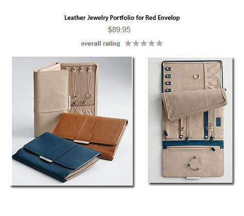 red envelope leather jewelry portfolio created a 9 pc