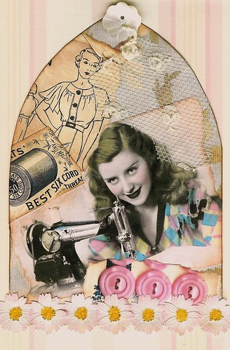 "Gothic Arch - Vintage Sewing, 4"" x 6"" 