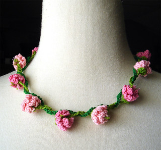 Crochet Necklace Pink Flowers Daisy Chain | by meekssandygirl