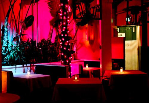 James beach restaurant interior at night venice