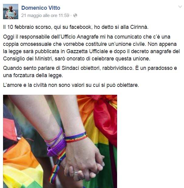 L'annuncio di Domenico Vitto su Facebook