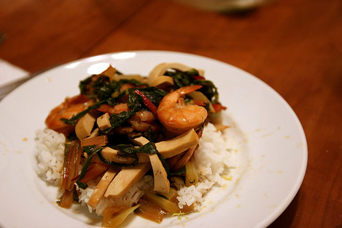 soy poached shrimp with greens and tofu | by fozziebayer