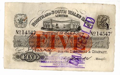 £5 note (North & South Wales Bank) - Ruthin (1907) | Flickr