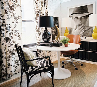 Black + white + yellow lamps: Michelle Adams's office at Lonny magazine | by SarahKaron