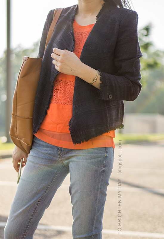navy tweed jacket, orange lace tank, lightwash jeans, cognac brown tote