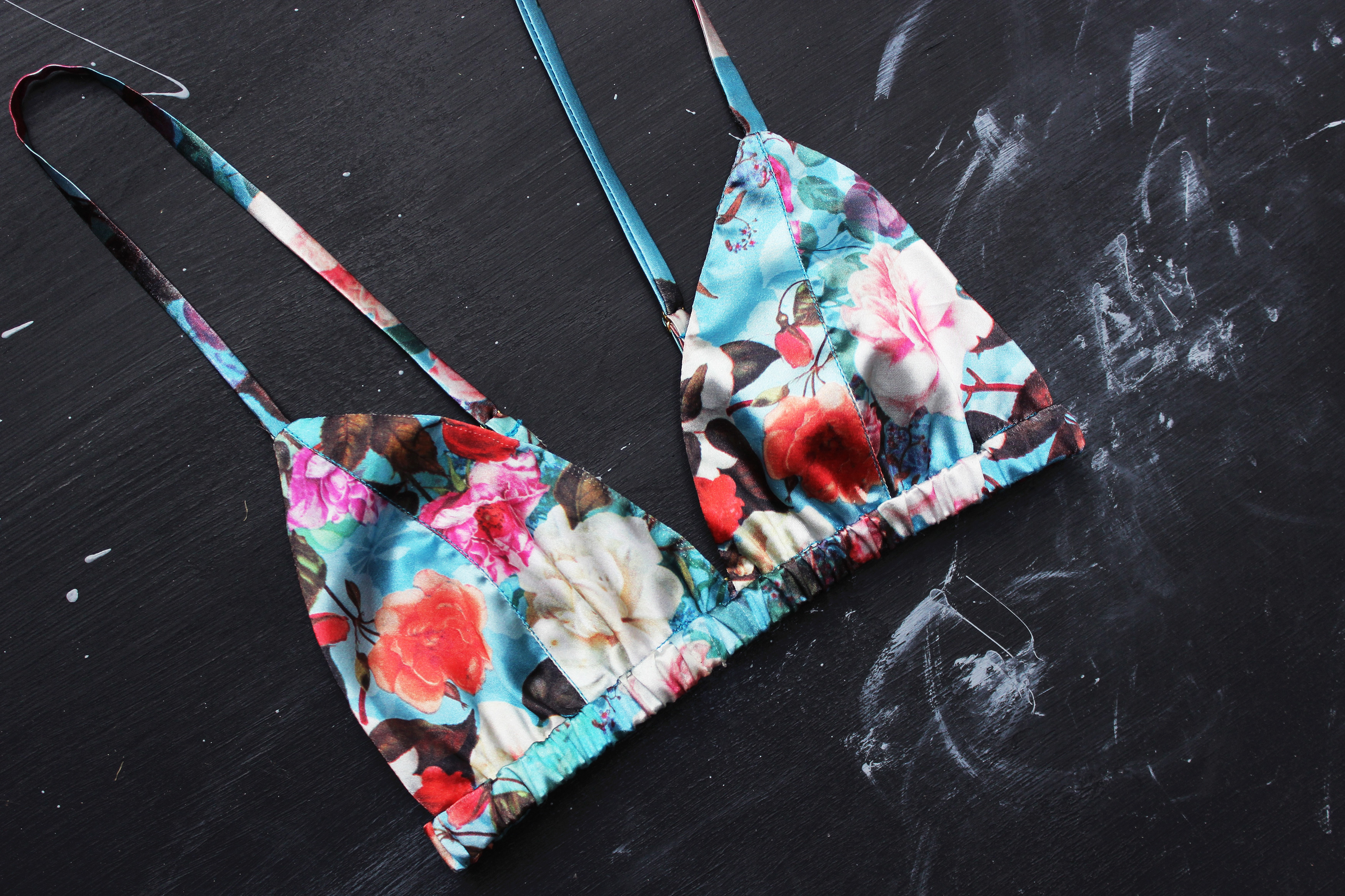 DIY Floral Charmeuse Triangle Bralette Tailor Made Shop