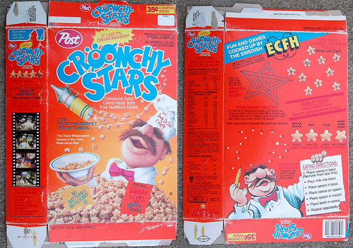 1988 Post Croonchy Stars Cereal Box Swedish Chef Henson Muppets | by gregg_koenig