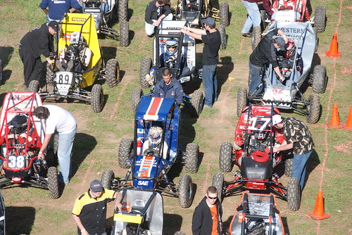 Auburn car (center) lines up for the start of the endurance race | by AuburnEngineers