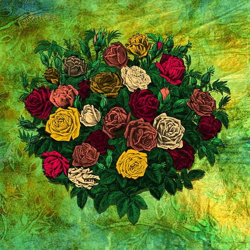Digital collage with vintage flowers