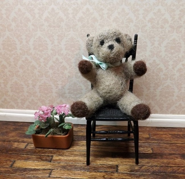 Needle felted teddy on 1 inch scale chair