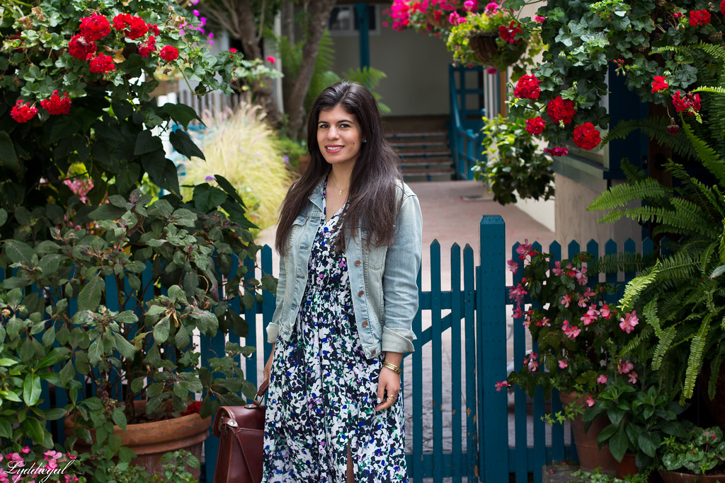 Floral Maxi Dress, Denim Jacket, brown sandals-1.jpg