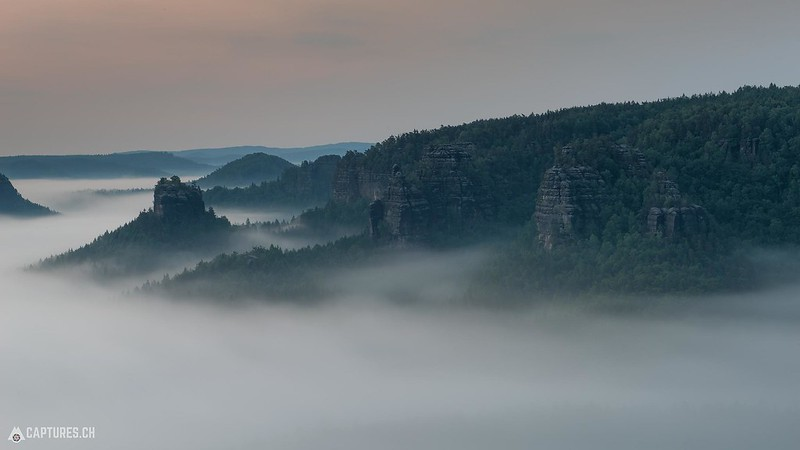 Cliffs in the fog - Kleiner Zschand