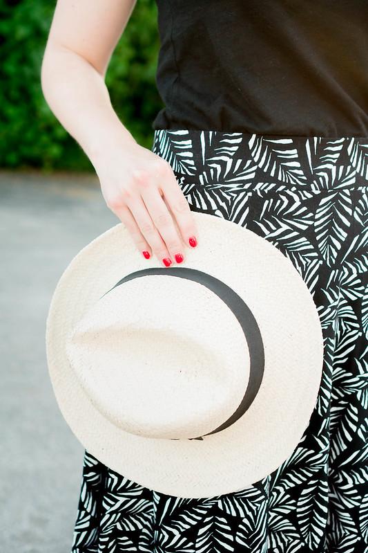 Loft palm leaf skirt + black Target tee + black vintage coach purse + red orange wedges; easy summer outfit   Style On Target