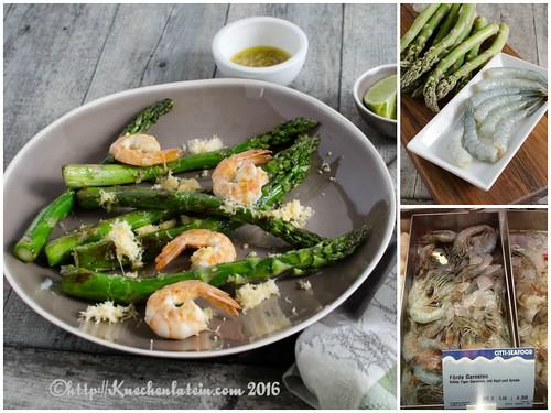 Grilled Shrimp and Asparagus with Lemon-Shallot-Vinaigrette Collage