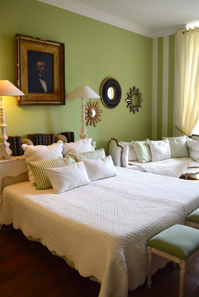 Green Bedroom at Chateau de Lissac | www.rachelphipps.com @rachelphipps