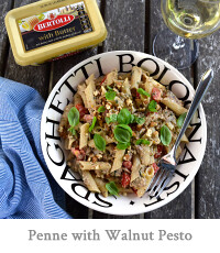Penne with Walnut & Aubergne Pesto