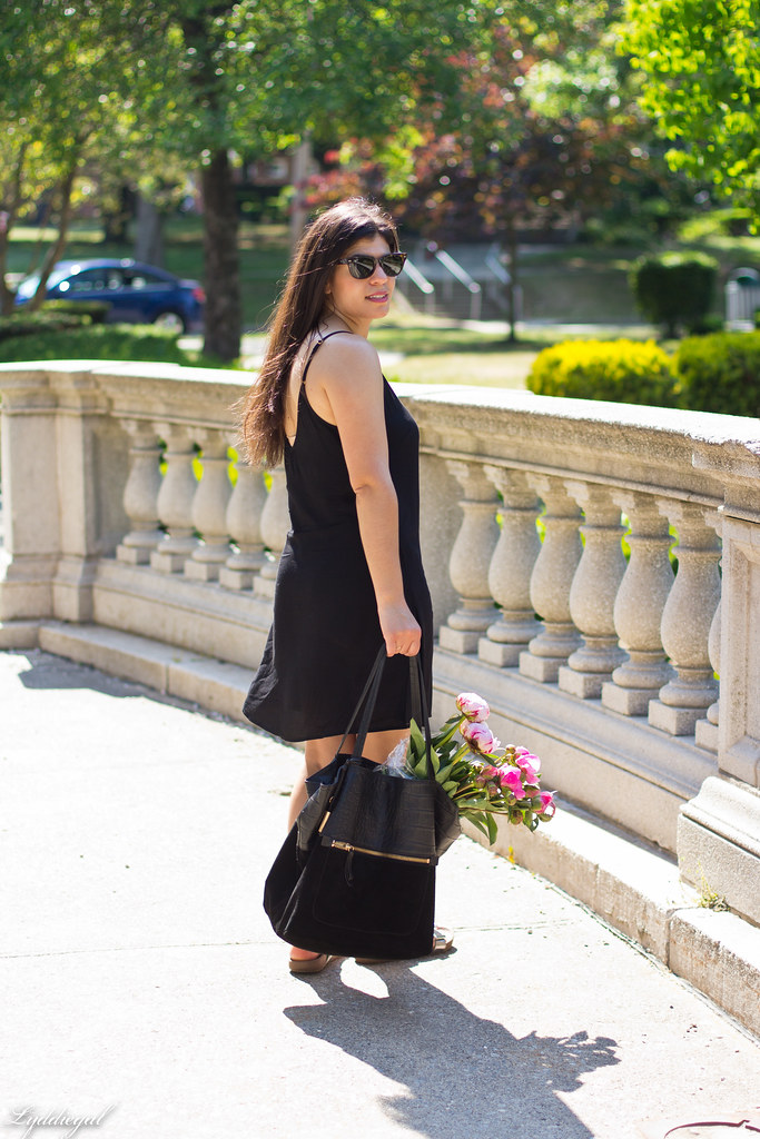 black slip dress, silver vionic sandals, black tote, peonies-2.jpg