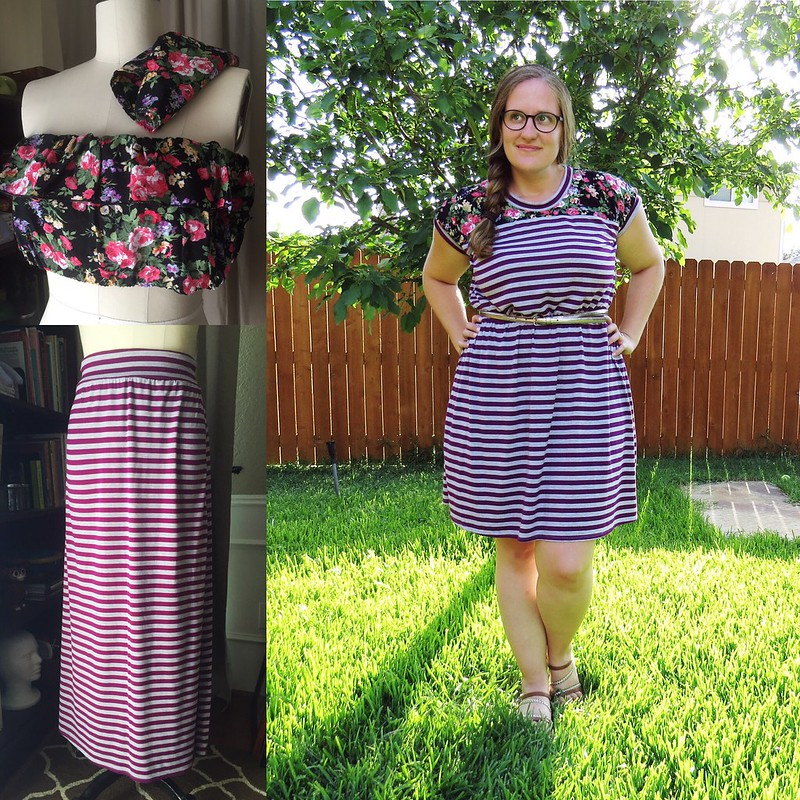 Stripes and Floral Dress Refashion - Before & After
