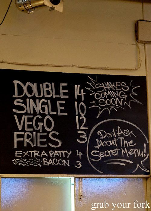 Burger menu at Down-N-Out at the Sir John Young Hotel, Sydney
