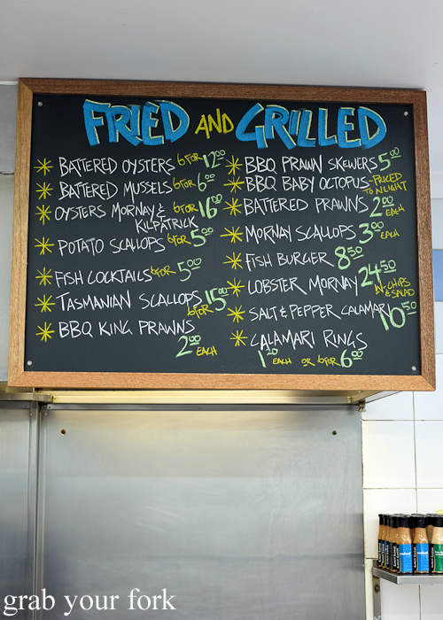 Fried and grilled hot food menu at Marrickville Seafood during the Community Kouzina Marrickville Food Tour for Open Marrickville