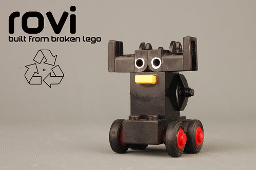 rovi 'the recycled robot' (building a greener Lego World) | by : VolumeX :