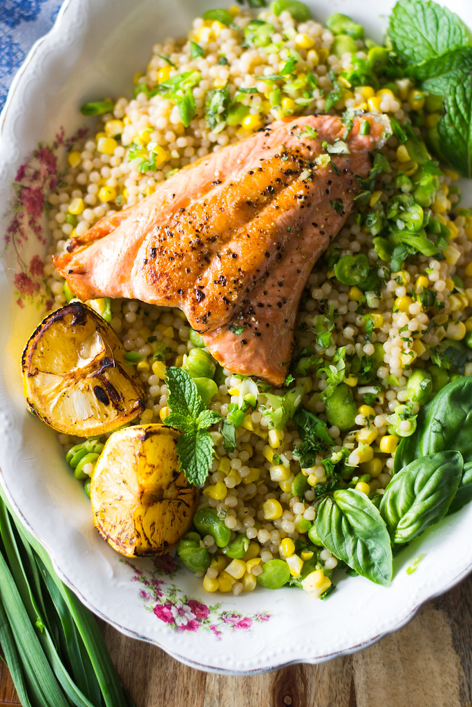 Charred Salmon with Lemon Herb Israeli Couscous and Fava Beans