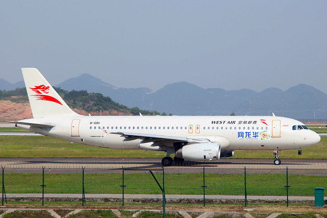 China West Air Airbus A320-232 (Hualong News) B-6811