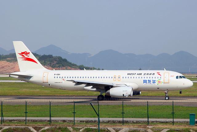 China West Air Airbus A320-232 (Hualong News) B-6811