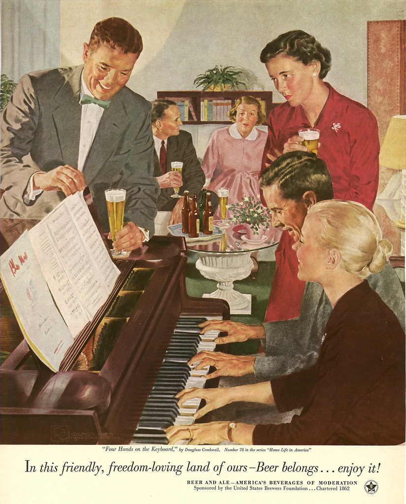 078. Four Hands on the Keyboard by Douglass Crockwell, 1953