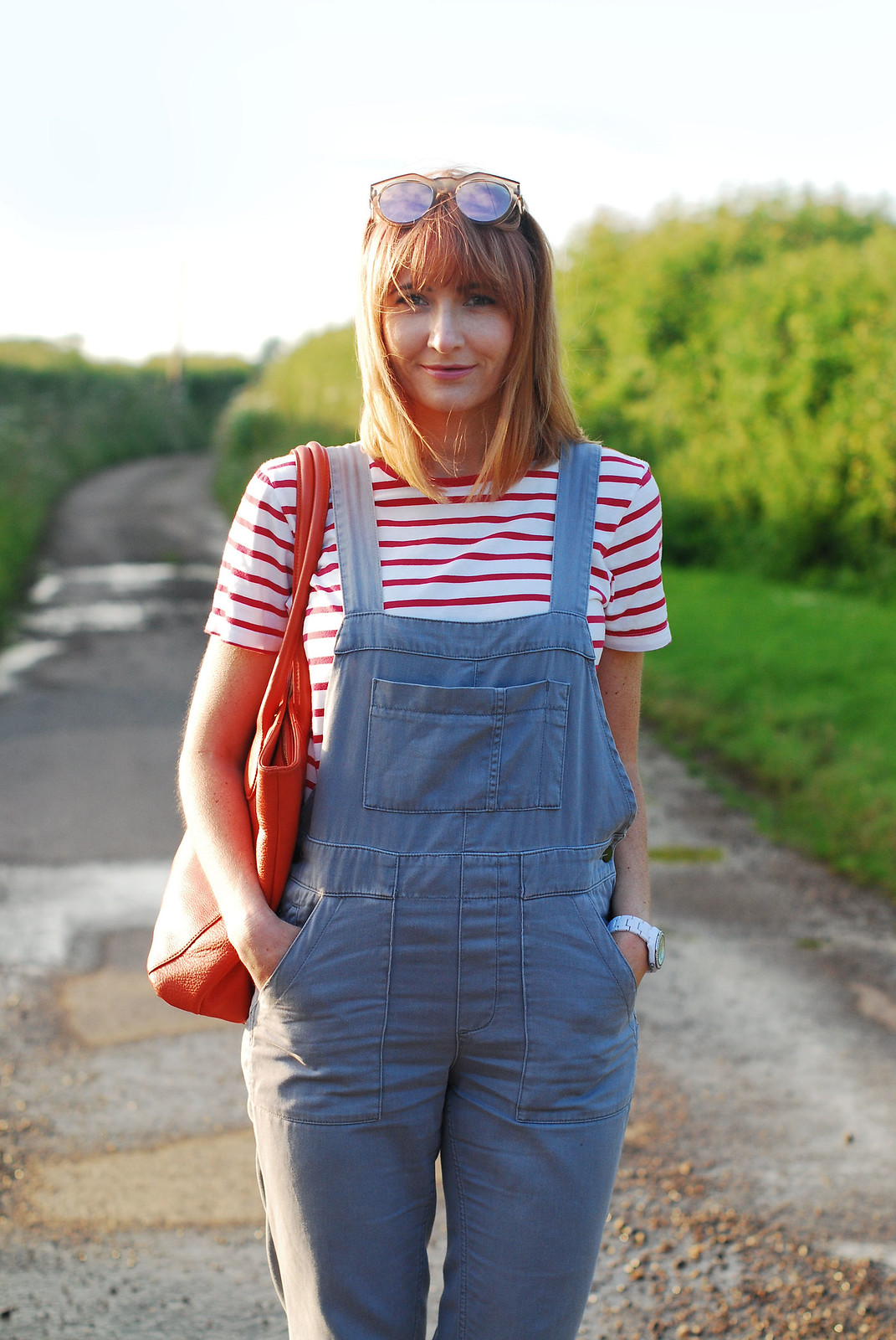 Casual spring summer look: Red Breton stripe t-shirt, grey dungarees, orange tote | Not Dressed As Lamb
