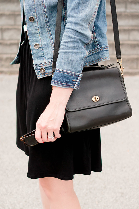 black Old Navy dress + stripe belt + denim jacket + black coach purse + red sandals; casual summer outfit | Style On Target
