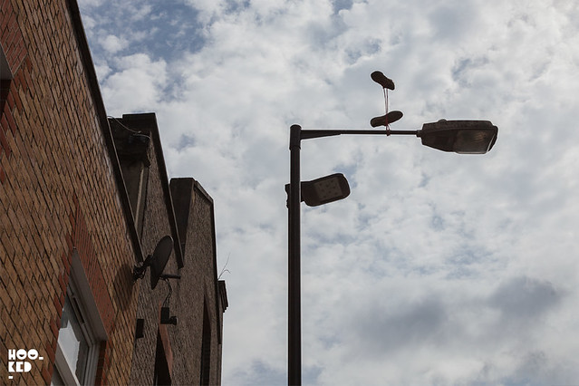 Gravity-defying Shoe Installation on the Streets of London by Spanish Street Artist Pejac
