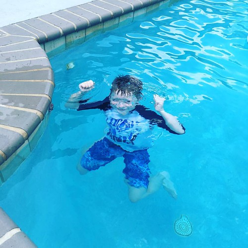 Bday boy smiling underwater. 😍