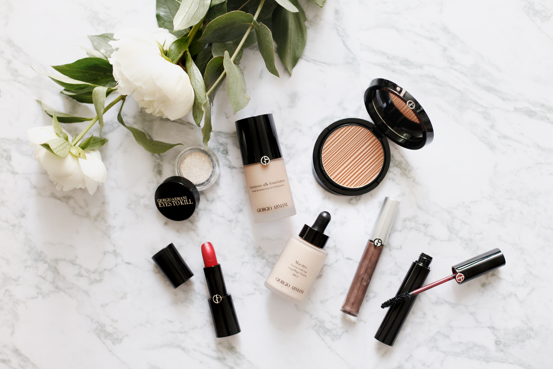 armani beauty makeup beauty beautyblogger bronzer red lipstick luxury products douglas mascara marble peony white flatlay cats & dogs beautyblog ricarda schernus schminke bloggerin 1