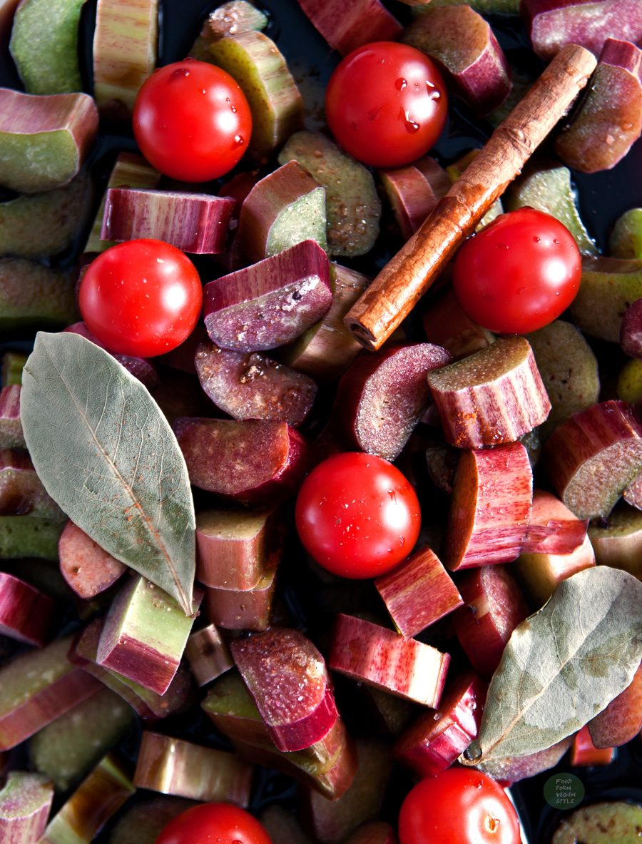 Spicy ketchupr or chutney with rhubarb