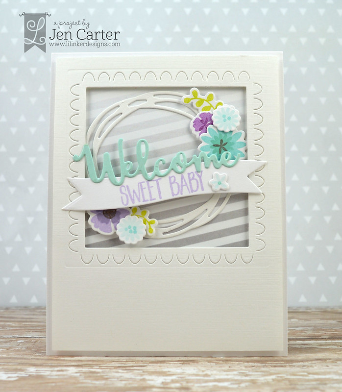 Jen Carter Welcome Wreath Baby Scallops 3 wm
