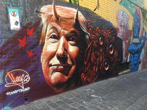 Pictured: Donald Trump in a street art representation as a devil #donaldtrump #donaldtrump2016 #dumptrump #melbournestreetart