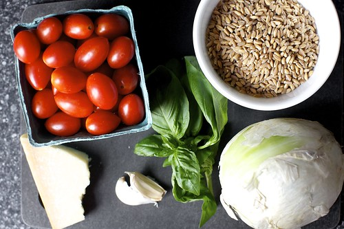 tomatoes, farro, onion, basil, garlic, parmesan | by smitten kitchen