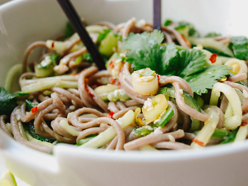 Soba & Cucumber Noodles + Sweet Ginger Scallion Sauce