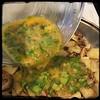 #ZucchiniBlossom #Mushroom #Potato Frittata  #Homemade #CucinaDelloZio - pour in egg mixture