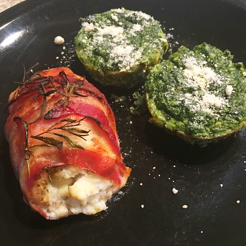 Bacon Wrapped Ricotta Stuffed Chicken Breast & Spinach Parmesan Cakes