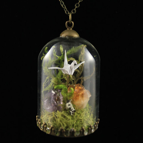 FoldIT Creations Origami Crane Terrarium Necklace