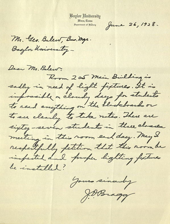History professor J.D. Bragg to business manager George Belew, 1928 June 26