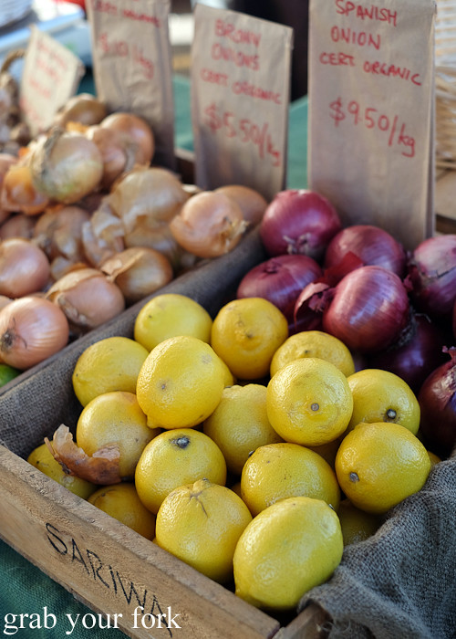 Organic onions and lemons at the Canterbury Foodies and Farmers Market, Sydney