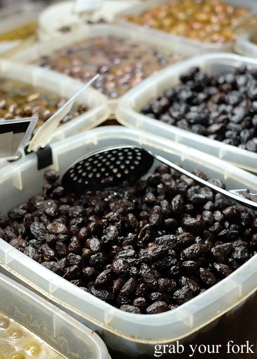 Greek black olives at Lamia Super Deli during the Community Kouzina Marrickville Food Tour for Open Marrickville